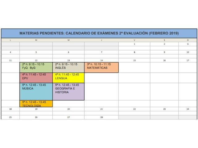 Calendario de exámenes de pendientes – Febrero